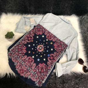 Free People embroidered denim top